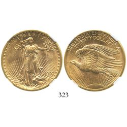 USA (Philadelphia mint), $20 (double eagle) St. Gaudens, 1907, encapsulated NGC MS 62.