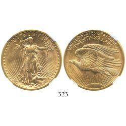 USA (Philadelphia mint), $20 (double eagle) St. Gaudens, 1907, encapsulated NGC MS 62.