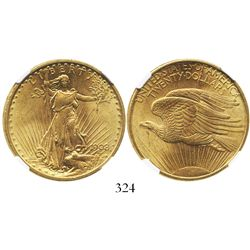 USA (Philadelphia mint), $20 (double eagle) St. Gaudens, 1908, no motto, encapsulated NGC MS 62.