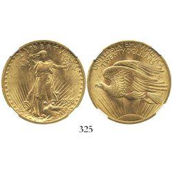 USA (Philadelphia mint), $20 (double eagle) St. Gaudens, 1908, no motto, encapsulated NGC MS 61.