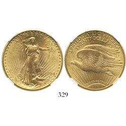 USA (Philadelphia mint), $20 (double eagle) St. Gaudens, 1924, encapsulated NGC MS 63.