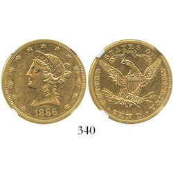 USA (San Francisco mint), $10 (eagle) coronet Liberty, 1886-S, encapsulated NGC AU 50.