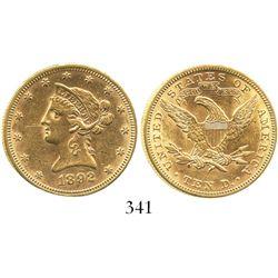 USA (Philadelphia mint), $10 (eagle) coronet Liberty, 1892, rare.