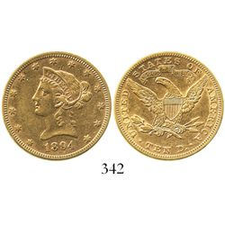 USA (Philadelphia mint), $10 (eagle) coronet Liberty, 1894.