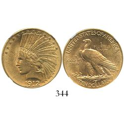 USA (Philadelphia mint), $10 (eagle) Indian head, 1912, encapsulated NGC AU 55.
