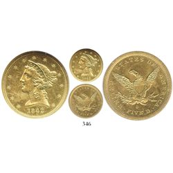 USA (New Orleans mint), $5 (half eagle) coronet Liberty, 1842-O, from the SS New York (1846), encaps