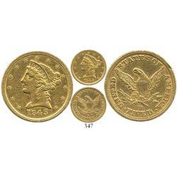 USA (Dahlonega mint), $5 (half eagle) coronet Liberty, 1843-D.