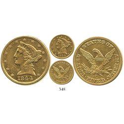 USA (Charlotte mint), $5 (half eagle) coronet Liberty, 1844-C.