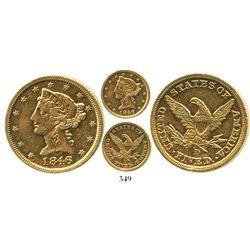 USA (Dahlonega mint), $5 (half eagle) coronet Liberty, 1846-D/D.