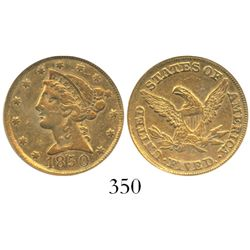 USA (Dahlonega mint), $5 (half eagle) coronet Liberty, 1850-D weak D, encapsulated PCGS XF45.
