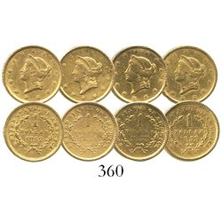 Lot of 4 USA (Philadelphia mint) $1 Liberty head (Type 1), various dates (1851, 1852 and 1853 [2]).