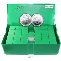 "Original green-plastic ""monster box"" (500 pieces) of USA (West Point mint), $1 Liberty (American Eag"