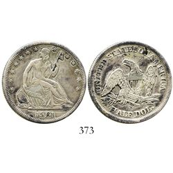 USA (San Francisco mint), half dollar (seated) Liberty, 1861-S.