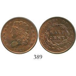 USA (Philadelphia mint), half cent (classic head), 1828, 13 stars.