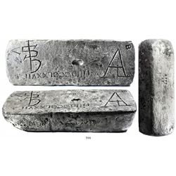 Large silver ingot #777, 76 lb 10.88 oz troy, Class Factor 1.0, dated 1621, fineness 2380/2400, from