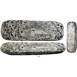 Small silver ingot, 20 lb 3.48 oz troy, fineness 2380/2400, from the Atocha (1622).