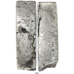 Neatly formed silver ingot, 1945 grams, about 98.5% fine, with stamps of the Zeeland chamber of the