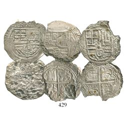 Lot of 3 cob 4R of Philip II: Mexico City, Mexico, assayer O to right; Granada, Spain, assayer A to