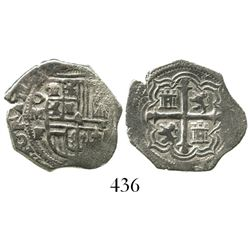 Mexico City, Mexico, cob 1 real, Philip II or III, assayer F, Grade 1, very rare denomination from t