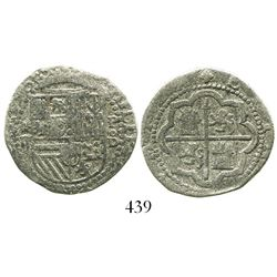 Lima, Peru, cob 2 reales, Philip II, assayer Diego de la Torre, *-ii to left, P-oD to right, Grade 1