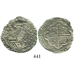 Lima, Peru, cob 2 reales, Philip II, assayer Diego de la Torre, P-ii to left, oD-* to right, Grade 3