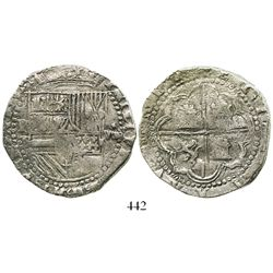 Potosi, Bolivia, cob 8 reales, Philip II, assayer B (2nd period), Grade 1.