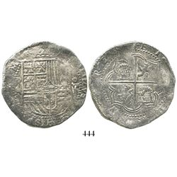 Potosi, Bolivia, cob 8 reales, Philip II, assayer A, Grade 1.