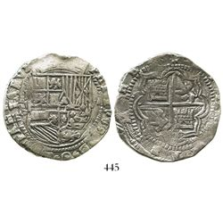 Potosi, Bolivia, cob 8 reales, Philip II, assayer B (5th period), Grade 1, ex-Hebert.