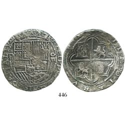 "Potosi, Bolivia, cob 8 reales, Philip II, assayer B (5th period), borders of x's, ""50 points"" (choic"