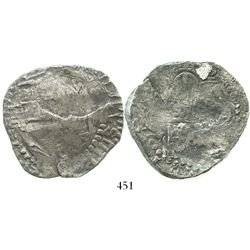 Potosi, Bolivia, cob 8 reales, Philip III, assayer R (curved leg), Grade 3, with coral on cross side