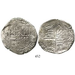 Potosi, Bolivia, cob 8 reales, Philip III, assayer Q, Grade 1, ex-Hebert.