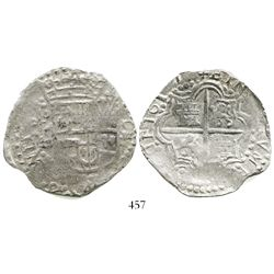 Potosi, Bolivia, cob 8 reales, 1617(M), Grade-1 quality, with tag but certificate missing.