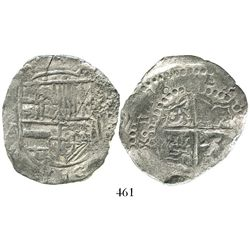 Potosi, Bolivia, cob 8 reales, 1618T, quadrants of cross transposed, Grade 2.