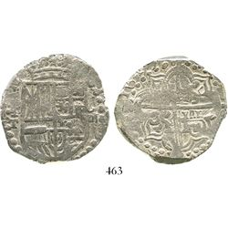 Potosi, Bolivia, cob 8 reales, 1619T, upper half of shield transposed, Grade-1 quality, with tag but