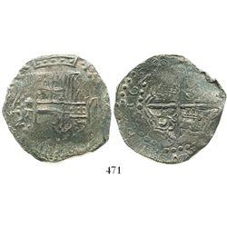 Potosi, Bolivia, cob 8 reales, 1620T, Grade 2.