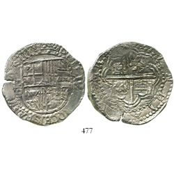 Potosi, Bolivia, cob 8 reales, Philip III, assayer not visible, 180-degree double-strike, Grade 1, w
