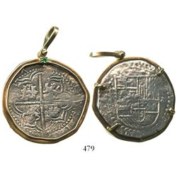 Potosi, Bolivia, cob 8 reales, Philip III, assayer not visible, Grade 2, mounted cross-side out in 1