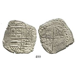 Potosi, Bolivia, cob 8 reales, Philip III, assayer not visible, Grade 2.