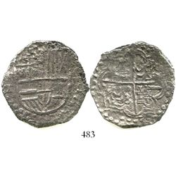 Potosi, Bolivia, cob 8 reales, Philip III, assayer T, Grade 2, with original tag but certificate mis