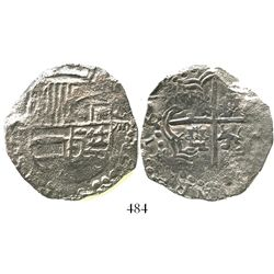 Potosi, Bolivia, cob 8 reales, Philip III, assayer T, Grade 3, quadrants of cross and upper half of