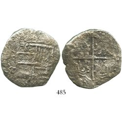 Potosi, Bolivia, cob 8 reales, Philip III, assayer T, Grade 3, with original tag but certificate mis