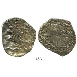Potosi, Bolivia, cob 8 reales, Philip III, assayer not visible, Grade-3 quality but Grade 4 on the c