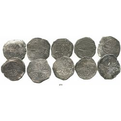 Lot of 5 Potosi, Bolivia, cob 8 reales, Philip III, assayers M, T or not visible, all Grade-1 or Gra