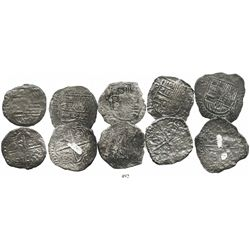 Lot of 5 Potosi, Bolivia, cob 8 reales, Philip III, assayers T or not visible, all Grade-3 or Grade-