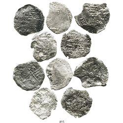 Lot of 5 Potosi, Bolivia, cob 8 reales, Philip III, assayers not visible, all Grade 4.
