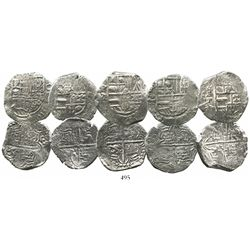 Lot of 5 Potosi, Bolivia, cob 4 reales, Philip III, assayer T or not visible, all Grade 1.