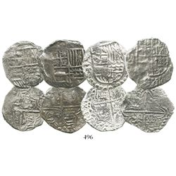 Lot of 4 Potosi, Bolivia, cob 4 reales, Philip III, assayer T or not visible, three Grade 1 and one