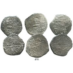 Lot of 3 Potosi, Bolivia, cob 4 reales, Philip III, assayers not visible, Grade-1 and Grade-2 qualit