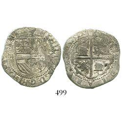 Potosi, Bolivia, cob 2 reales, Philip II, assayer R to right (Rincon), Grade-1 quality but Grade 2 o