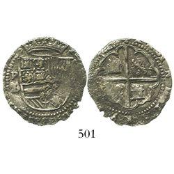 Potosi, Bolivia, cob 2 reales, Philip II, assayer L/M, choice Grade 2, rare.